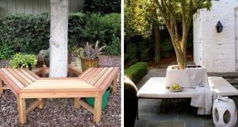 12 progetti fai-da-te per realizzare panche e pedane intorno agli alberi, rendendo unico il giardino