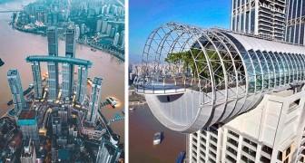 China: Ein spektakulärer horizontaler Wolkenkratzer ermöglicht es Ihnen, das Panorama vom Glasboden aus zu beobachten