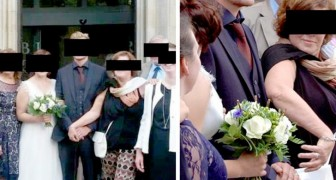 I'm his wife too!: newlywed's mother-in-law grabs her sons hand during wedding photos