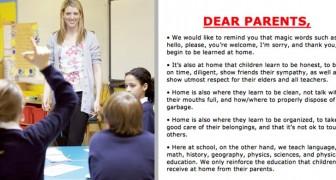 Kära föräldrar, det är i hemmet som barn lär sig att hälsa och tacka Den här skolans skylt har gett upphov till diskussion bland föräldrarna
