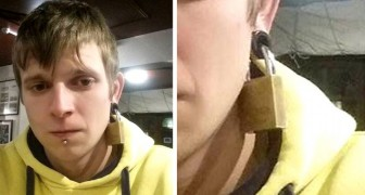 In a dirty prank, a stranger attaches a lock to a man's gauged ear and runs away with the key