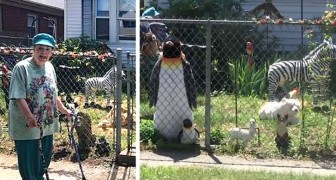 An old woman builds a zoo in her yard to make all the passersby smile
