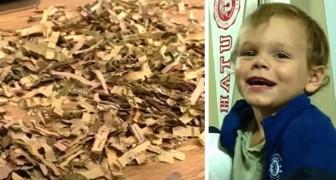 Eles procuraram desesperadamente por um envelope com 1000 dólares e descobriram que o filho o tinha destruído no triturador