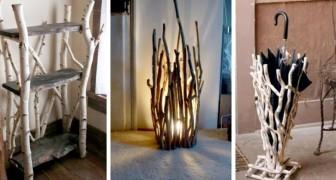 10 idee fantasiose e insolite per decorare la vostra casa usando legna e rami secchi
