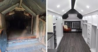 Transforma o velho sótão empoeirado em um lindo closet para sua esposa