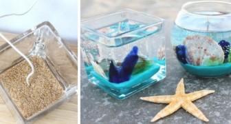 Il tutorial semplice per realizzare fantastiche candele fai-da-te decorate come un fondale marino