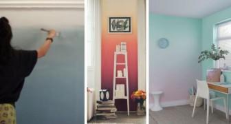 Le idee da cui prendere spunto per dipingere una parete con una sfumatura di colori creando una ombre wall