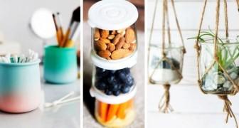 8 trovate brillanti per riciclare i vasetti di vetro e fare ordine con creatività