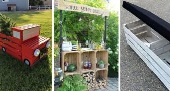 13 mobili e decorazioni per il giardino da realizzare riciclando le cassette di legno