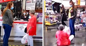 Woman sits on ground and refuses to leave a store after they asked her to put on a face mask