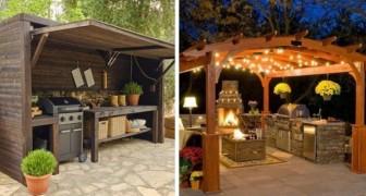 9 merveilleuses idées pour réaliser des cuisines en plein air et enrichir les jardins avec des espaces utiles et confortables