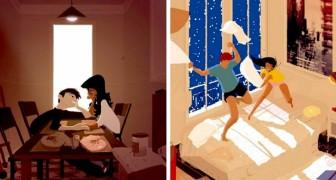 Un artista è riuscito a catturare tutta la magia della vita di coppia nelle sue tavolozze colorate