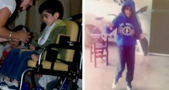Een jongen die sinds de geboorte aan hersenverlamming lijdt slaagt erin om op 14-jarige leeftijd voor het eerst te lopen