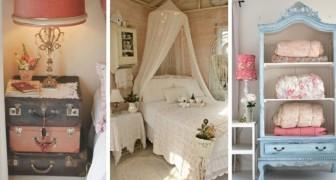 14 idee meravigliose per arredare la camera da letto con dettagli romantici in stile shabby chic