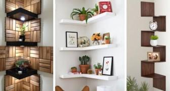 10 idee brillanti per arredare l'angolo di una stanza con originali mensole e ripiani fai-da-te