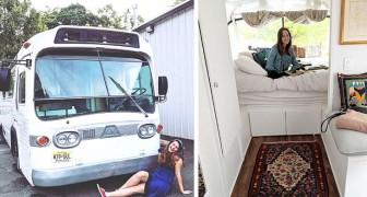 Uma garota compra um ônibus velho e o transforma em uma casa elegante e completa