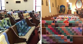 The grandmother who always sewed wonderful blankets: her grandchildren honor her by exhibiting them in church during the funeral