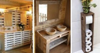 11 soluzioni d'arredo intelligenti per creare mobili per il bagno con pallet e legno di recupero