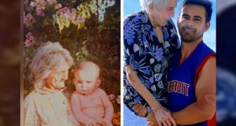 A man takes his 99-year-old grandmother into his arms, recreating an old photo for her birthday