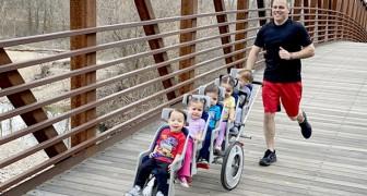 Een vader loopt een marathon van 10 km terwijl hij met zijn vijfling de kinderwagen duwt: het is een wereldrecord