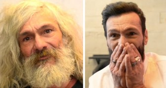 A generous barber gives a homeless man a new look: he cries with happiness when faced with his transformation