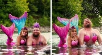 Una bimba chiede al papà di vestirsi da sirena per il suo compleanno: lui accetta e le foto sono memorabili