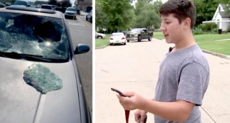 A 12-year-old boy sees a child locked in the car in the sun: he breaks the glass and saves him