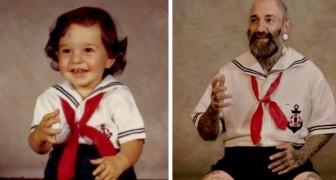 12 oude kinderfoto's die jaren later tot de kleinste details opnieuw werden gemaakt