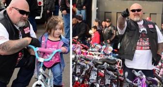 Una banda de motociclistas de gran corazón regala más de 200 bicicletas a los niños en dificultad
