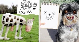 Un père utilise Photoshop pour donner vie aux dessins stylisés de ses deux enfants : les résultats sont hilarants