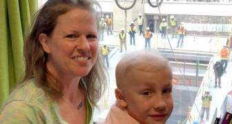 En 10-årig pojke kämpar mot cancer och får sin födelsedagspresent från fönstret på sjukhuset