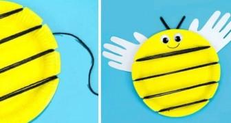 Un adorabile lavoretto per realizzare simpatiche api riciclando piatti di carta e fili di lana