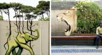 Questo artista dà un nuovo volto alle periferie con dei bellissimi graffiti che si sposano col paesaggio urbano