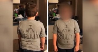 A mom discovers her son has been bullying other kids at school: as punishment, she sends him to school wearing a t-shirt that says I am a bully on it