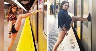 Ze maakt foto's van modellen na in de meest absurde poses en laat zien hoe de realiteit heel anders is dan die van sociale media