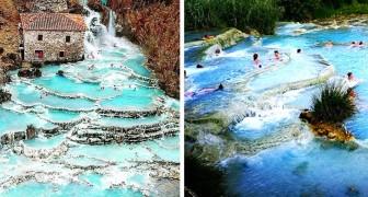 Saturnia : les fabuleux bains thermaux avec des piscines naturelles, des eaux turquoises et des rochers blancs au cœur de l'Italie