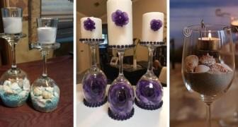 10 propositions fascinantes pour transformer des verres en de charmants porte-bougies