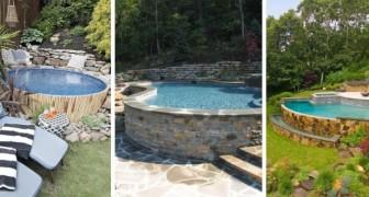 9 idee strepitose per ricavare una piscina in terrazzi o in giardini con dislivello