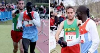 Een atleet verliest met opzet de race als hij ziet dat zijn tegenstander per ongeluk de finishlijn mist
