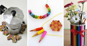 9 idee geniali per riciclare i vecchi pastelli e trasformarli in gioielli e decorazioni coloratissime