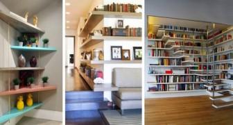 8 spunti originali per arredare angoli e spigoli delle stanze con scaffali e non solo