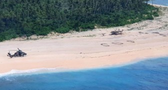 Trois hommes naufragés sur une île déserte se sont sauvés grâce à un grand SOS écrit sur le sable