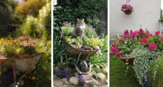 12 bonnes idées pour recycler une vieille brouette et la transformer en décoration de jardin