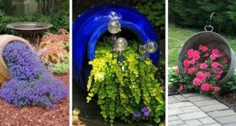 11 idées pour décorer le jardin avec des vases et des amphores qui déversent des fleurs sur le sol