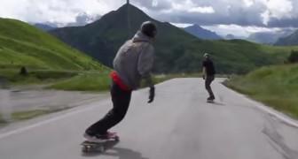 Deze skateboard afdaling in de Alpen laat je ademloos