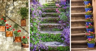 9 incantevoli spunti per abbellire le scale d'entrata con vasi e fiori colorati