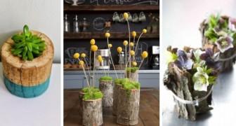 11 idées pour recycler les branches et écorces de bois et créer des pots et des jardinières DIY