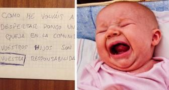 Han hittar ett brev med klagomål angående hans dotters gråtande på natten: Dina barn är ditt ansvar
