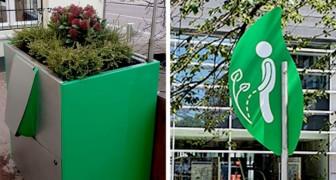 In Amsterdam zijn urinoirs geplaatst in de vorm van plantenbakken om het probleem van wildplassen aan te pakken