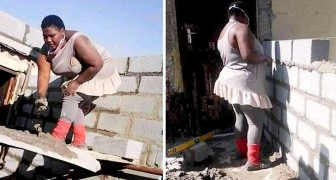Een moeder die afgestudeerd is in bouwkunde bouwt een deel van haar nieuwe gezinswoning met eigen handen